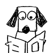 Stick Dog reads a book